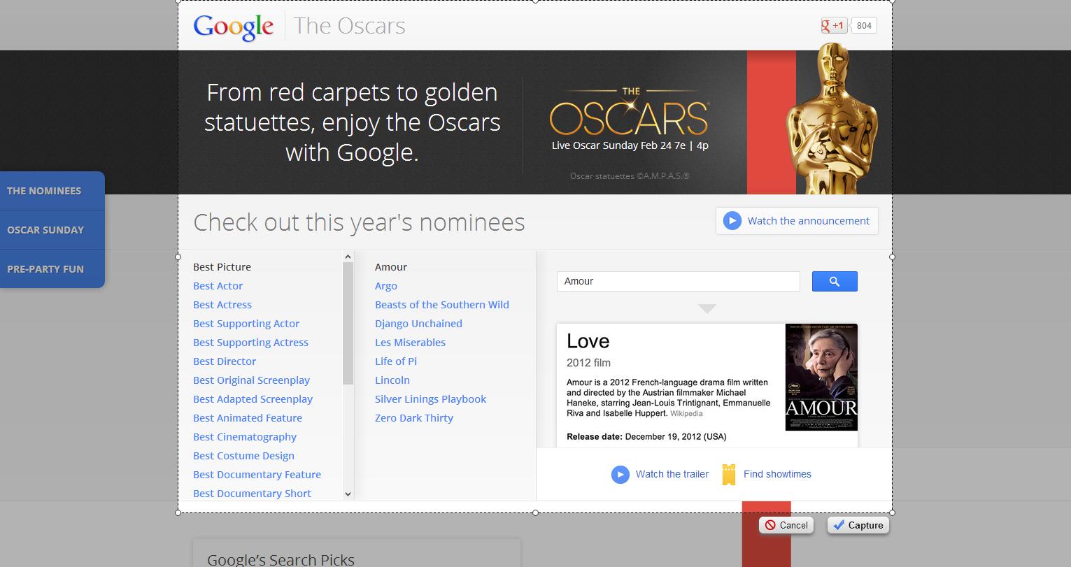 Google presenta sus predicciones para el Oscar 2013