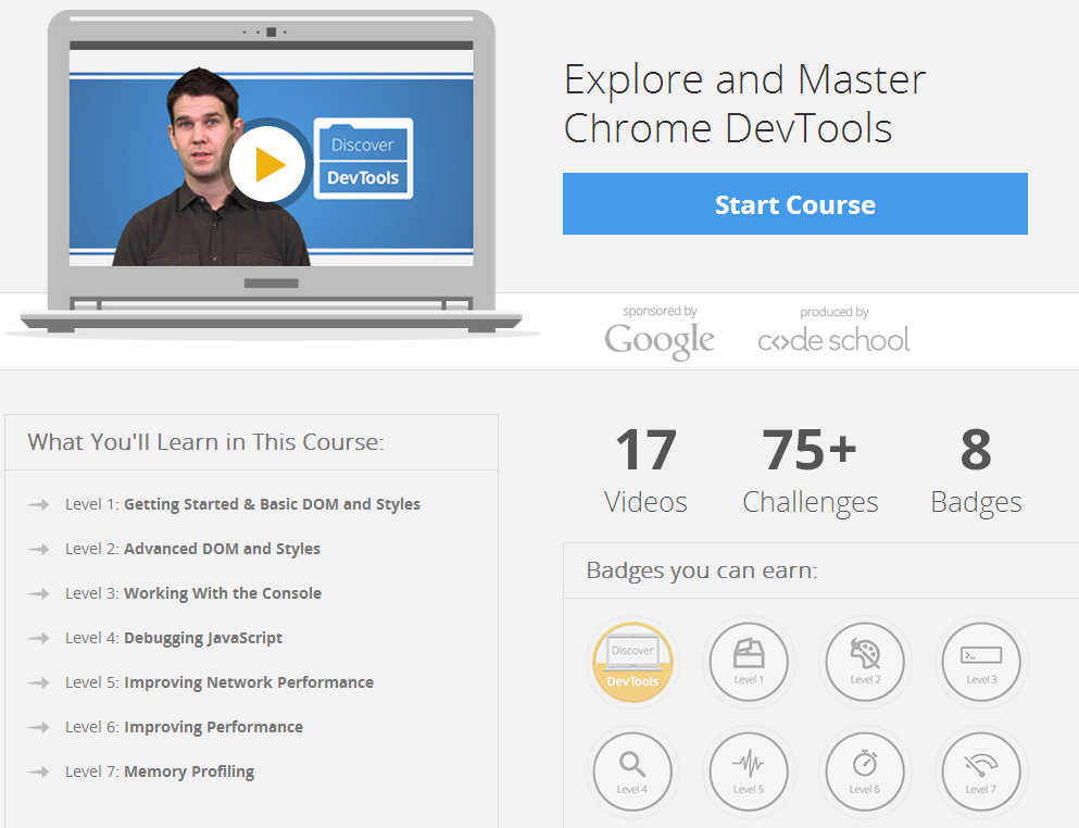Discover DevTools: curso en línea de Code School y Google