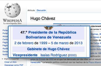 Wikipedia actualiza la biografía de Hugo Chávez agregando la fecha de su muerte